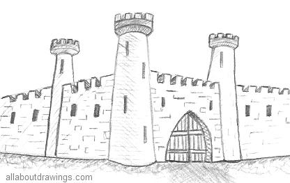castle-drawing-outline